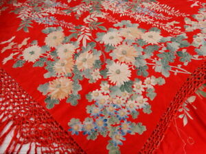 1920 S Flapper Red Silk Piano Shawl Oriental Floral Long Fringe As Is