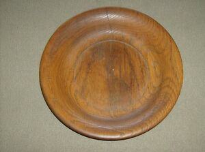 Vintage Decorative Handcrafted Turned Stained Wood 10 11 16 Plate Bowl Used