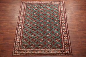 Green 7x8 Vintage Pak Bukhara Area Rug 1970s Hand Knotted Wool Carpet 6 6 X 8 5