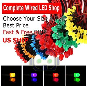 1 8mm 3mm 5mm 10 Pre Wired Led Cabled Dc9 12v Diffused Lights Emitting Diodes