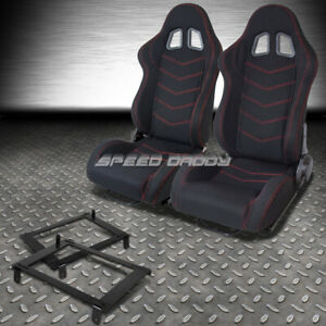 2x Black Red Stitch Bucket Racing Seat Low Mount Bracket For 02 06 Dc5 Acura Rsx
