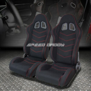 2 X T1 Fully Reclinable Light Bucket Racing Seats Sliders Black Cloth Red Stitch