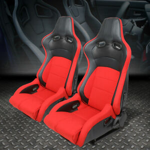 Red black Leather High Head carbon Fiber Design Reclinable Sport Racing Seats