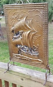 Vintage Brass Nautical Clipper Ship Fireplace Hearth Cover Screen