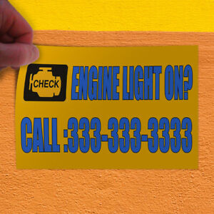 Decal Sticker Engine Light On Custom Number Automotive Outdoor Store Sign Blue