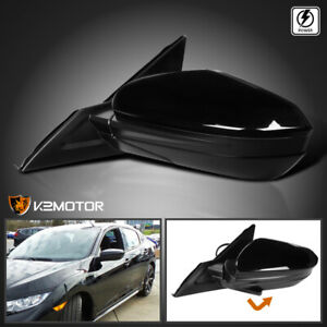 For 16 18 Civic Glossy Black Power 3 pin Left Driver Side Mirror 1pc