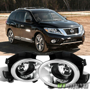 Fits 2013 2016 Pathfinder glass Lens Clear Bumper Fog Lights Lamps W switch