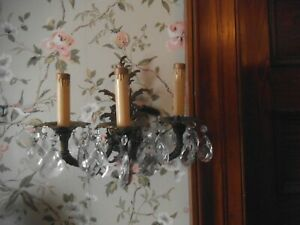 Pair Vintage Ornate 3 Arm Brass Victorian Electric Wall Sconces W Prisms