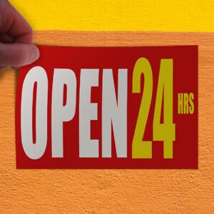 Decal Sticker Open 24 Hrs Red Business Business Open 24 Hours Store Sign Red