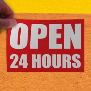 Decal Sticker Open 24 Hours Business Business Open Outdoor Store Sign White