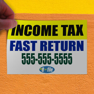 Decal Sticker Income Tax Fast Return Custom Text Business Business Store Sign