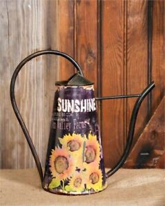 Primitive Aged Reproduction Large Sunflower Watering Can