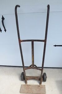 Antique Industrial Metal Hand Truck Dolly Barrel Loading Cart Farm Country Decor