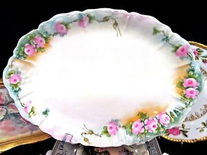 Haviland Limoges Platter Painted Roses Pink Tray Embossed Charger Pink Rose