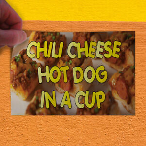 Decal Sticker Chili Cheese Hot Dog In A Cup Restaurant Food Store Sign Orange