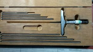 Vintage 0 9 L s Starrett Depth Micrometer 445 Wooden Case 4 Base Free Ship