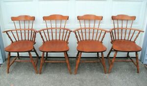 Vintage 4 Nichols Stone Co Maple Wood Spindle Arm Chairs
