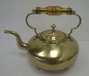 Antique Brass Footed Tea Pot Toddy Kettle Victorian Shi S25