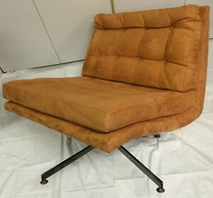 Mcm Founders Furniture Jack Cartwright Swivel Lounge Chair Orange Suede