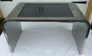 Mid Century Chrome Waterfall Table Desk Smoke Glass Pace Collection Rosen Style