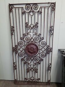 Very Ornate Antique Iron Gate With Medalion In Center