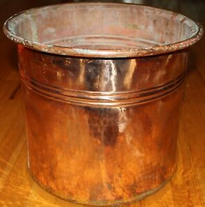 Turkish 14 1 2 X12 1 2 Antique Handhammered Copper Boiler Planter Cauldron Pot