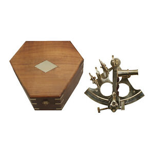 Large 8 1 2 Polished Brass Nautical Sextant Antique Replica In Rosewood Box