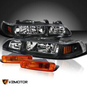 Fits 90 91 Acura Integra Jdm Black 1 Piece Style Headlights bumper Signal Lights