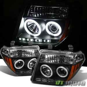 Black Fits 05 07 Frontier Pathfinder Ccfl Halo Projector Headlights Lights Pair