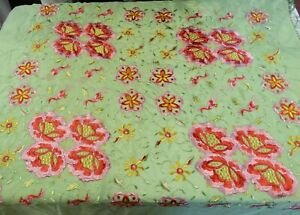 1920 S Flapper Embroidered Silk Piano Shawl Vibrant Flowers Birds Long Fringe