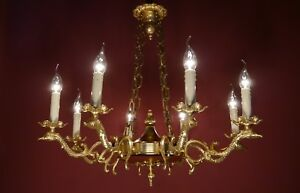 Large Gold Swan Arm Chandelier Brass Vintage Old Ceiling Lamp Ancient