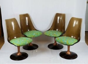 4 Mid Century Smoked Lucite Tulip Chairs Mod Chromcraft Vintage Antique Modern