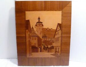 Antique German Inlaid Wood Plaque Marquetry Clock Tower H Lachmann Germany