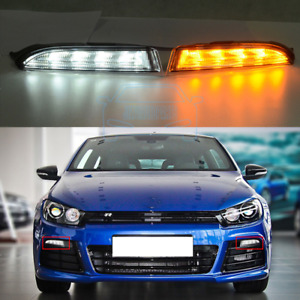 1pair Led Drl Fog Lamps Daytime Running Light Fit For Vw Scirocco R 2011 2014
