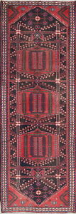 One Of A Kind Geometric Bakhtiari Persian Oriental Hand Knotted 4x10 Runner Rug