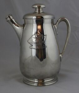 Meriden Silver Plate International Coffee Pot Sailing Ship Emblem