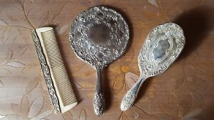 Antique Vintage Silver Plated Vanity Set Hand Mirror Brush Comb Lot 2
