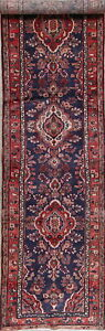 Floral Hamedan Persian Wool Hand Knotted 14 Navy Blue Runner Rug 14 1 X 3 6