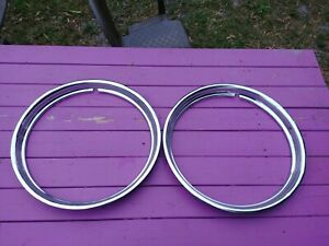 16 Oem Stainless Steel Trim Rings 2 Nice Used For Late 1940s Early 1950s