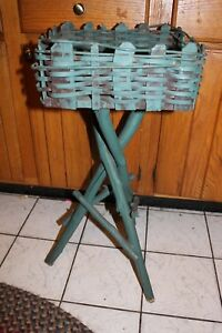 Antique Adirondack Twig Smoking Plant Stand Rustic Country Primitive 29 Tall L