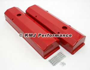 Small Block 350 Chevy Long Bolt Aluminum Valve Covers Powder Coated Red Sbc 400