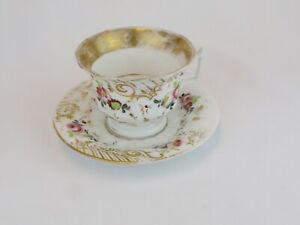 Old Paris Antique Fluted Floral Hand Painted Porcelain Cup And Saucer