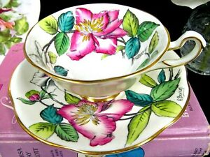 Rosina Tea Cup And Saucer Painted Floral Artist Signed Bentley A F Teacup