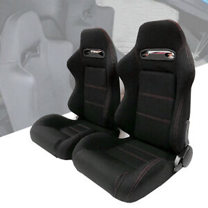 2x Black Reclinable Racing Seats Cloth Red Stitch Left right Slider Brackets
