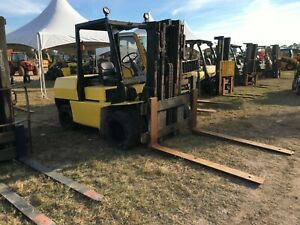 Hyster 10000 Pneumatic Tire Rough Terrain Diesel Forklift 160 Lift 60 Forks