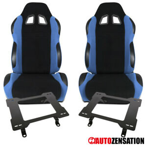 For Ford 79 98 Mustang Black light Blue Cloth Racing Seats laser Welded Brackets