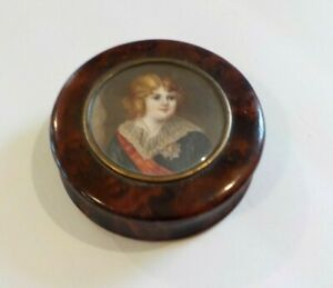 19th C Miniature Box Watercolor Young Boy Portrait Painting Insert 1