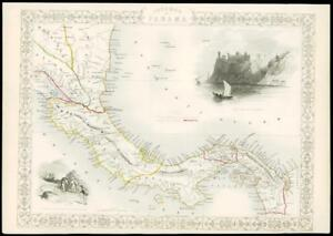 1850 Illustrated Original Antique Map Isthmus Of Panama By Tallis 162d