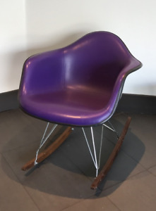 Purple Eames Rocking Chair Vintage Herman Miller Parchment Fiberglass Rocker Htf