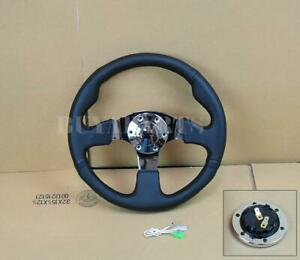 13 330mm Black Pvc Leather Mirror Chrome Staineless Steel Flat Steering Wheel